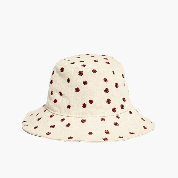 773d620b8 Madewell Daisy Embroidered ShortBrimmed Bucket Hat NWT